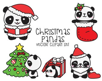 Premium Vector Clipart - Kawaii Christmas Pandas - Cute Christmas Panda Clipart Set - High Quality Vectors - Kawaii Christmas Clipart