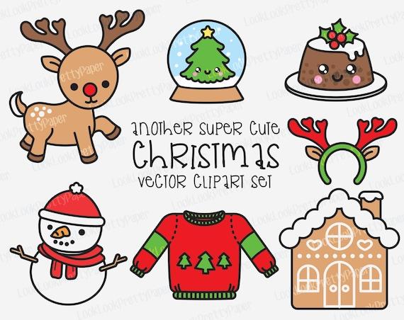Kawaii Christmas.Premium Vector Clipart Kawaii Christmas Another Cute Chrismas Clipart Set High Quality Vectors Instant Download Kawaii Clipart