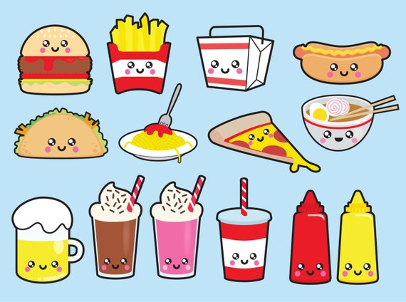 Premium Vector Clipart Kawaii Junk Food Clipart Kawaii Food Clip Art Set High Quality Vectors Instant Download Kawaii Clipart