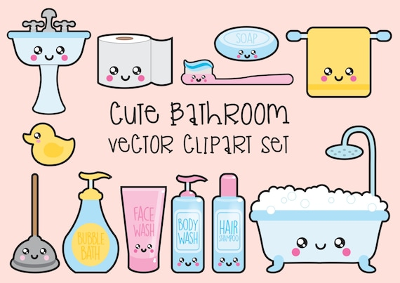 Premium Vector Clipart Kawaii Bathroom Clipart Kawaii Etsy Adorable Bathroom Clipart Set
