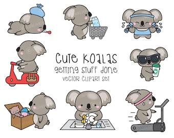 Premium Vector Clipart - Kawaii Koala - Cute Koala Planning Clipart - Instant Download - Kawaii Clipart