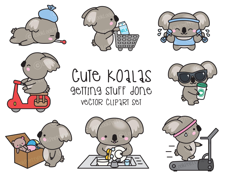 Premium Vector Clipart Kawaii Koala Cute Koala Planning | Etsy