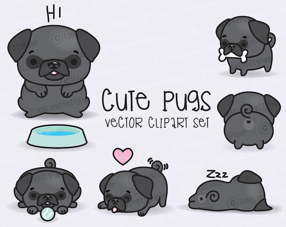 Instant Download High Quality 300ppi png Vector Clipart Kawaii Pugs  dogs Kawaii Clipart Cute Pugs Clipart Set