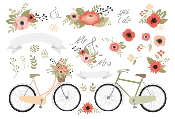 Beautiful Premium Vector Clipart Wedding Stationery Rustic Floral Poppy Vintage Bicycle Shabby Romantic Design From With