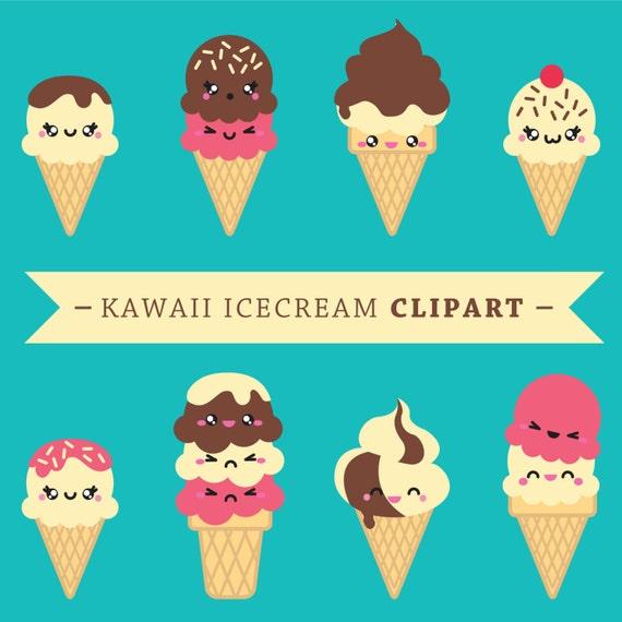 premium vector clipart kawaii icecreams cute ice creams etsy