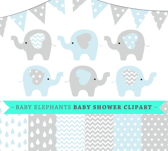 Premium Baby Shower Vector Clipart Baby Elephants Blue And Etsy