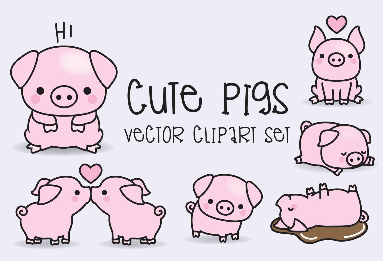 Premium Vector Clipart Kawaii Pigs Cute Pigs Clipart Set ...