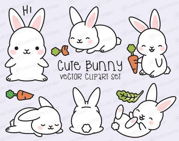 Premium Vector Clipart Kawaii Bunny Cute Bunny Clipart Set ...