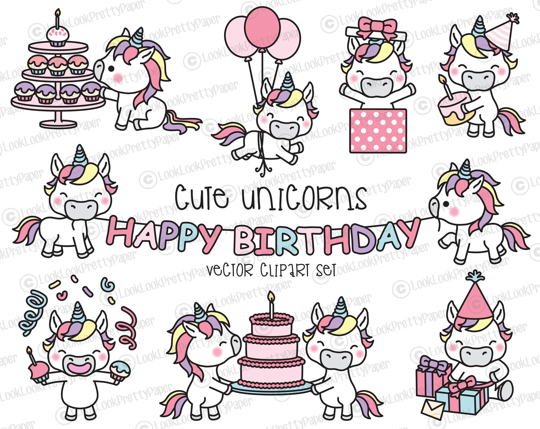 Premium Vector Clipart Compleanno Di Kawaii Unicorni Etsy