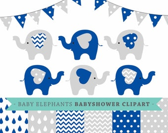 Premium baby shower vector clipart - Baby elephants - Navy blue and grey baby shower - clip art & digital paper set - baby elephant clipart