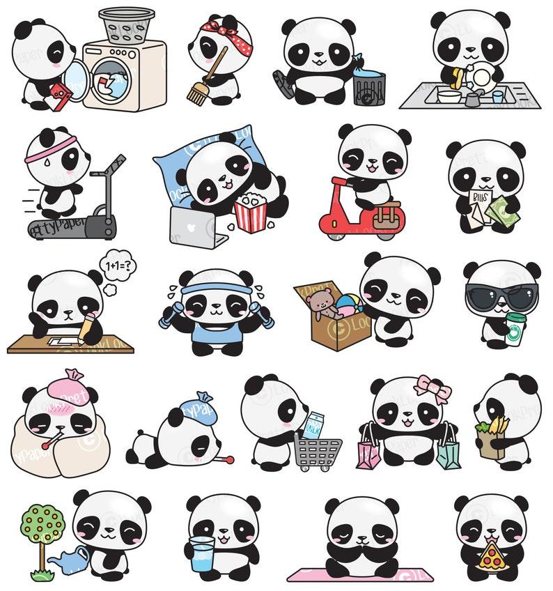 Premium Vector Clipart Kawaii Panda Cute Panda Planning | Etsy