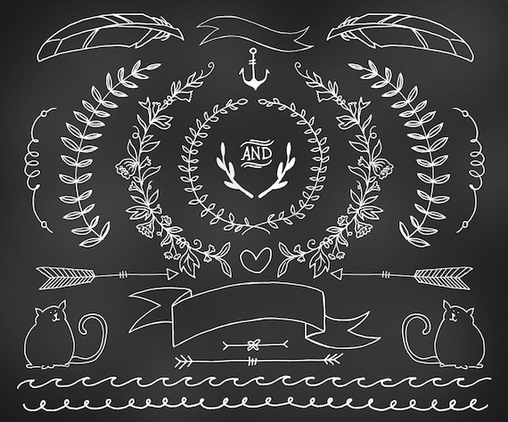 Hand Drawn Chalkboard Clipart Floral Rustic Design Elements