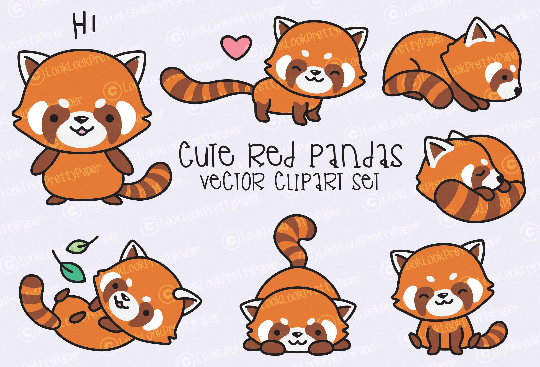 Premium Vector Clipart Kawaii Red Pandas Cute Red Panda   Etsy