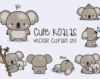 Premium Vector Clipart - Kawaii Koala - Cute Koalas Clipart Set - High Quality Vectors - Instant Download - Kawaii Clipart