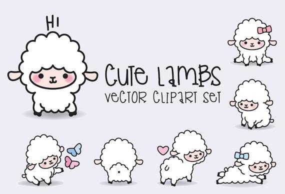 Premium Vector Clipart Kawaii Lambs Cute Lamb Clipart Set ...