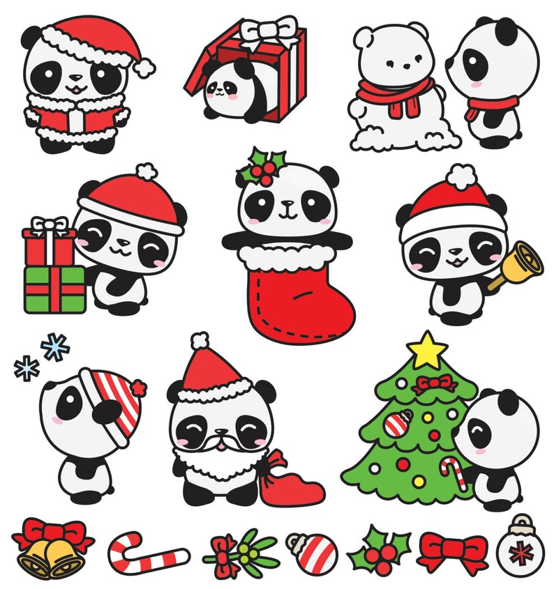 Premium Vector Clipart Kawaii Christmas Pandas Cute   Etsy