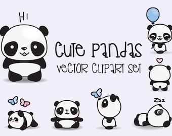 Premium Vector Clipart - Kawaii Pandas - Cute Pandas Clipart Set - High Quality Vectors - Instant Download - Kawaii Clipart