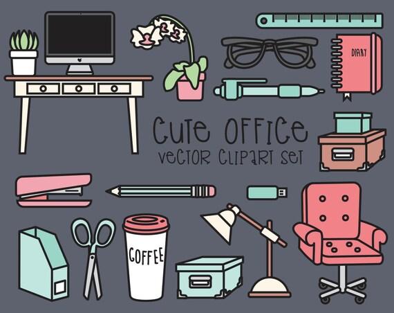 Clipart office set de bureau avec élément de bureau bureau