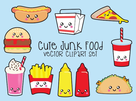 premium vector clipart kawaii junk food clipart kawaii food clip rh etsystudio com animated junk food clipart avoid junk food clipart