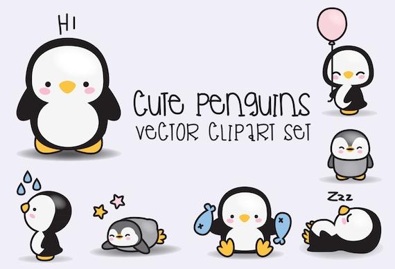premium vector clipart kawaii penguins cute penguins etsy rh etsy com cute penguin clip art free cute penguin clip art free