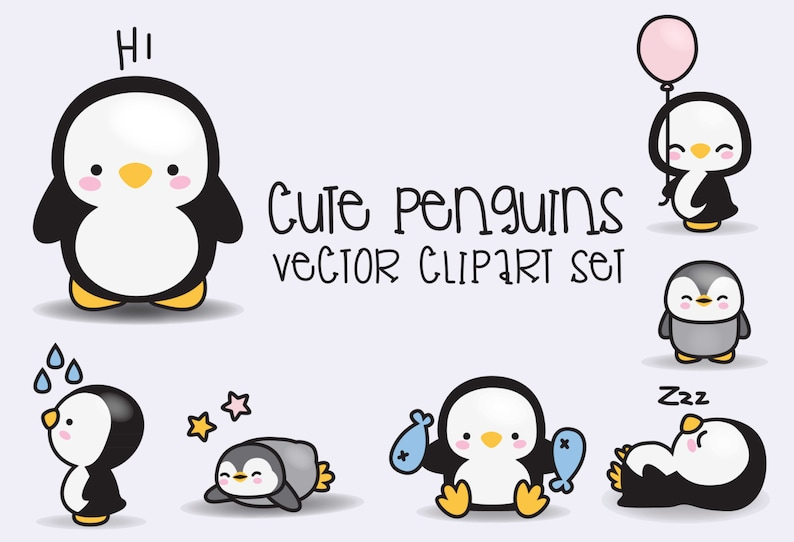 7fd024422ee9f Premium Vector Clipart Kawaii Penguins Cute Penguins