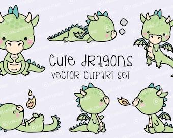 Premium Vector Clipart - Kawaii Dragon - Cute Baby Dragons Clipart Set - High Quality Vectors - Instant Download - Kawaii Clipart
