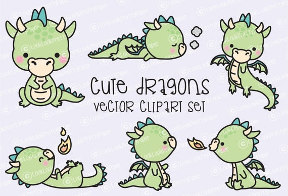 premium vector clipart kawaii dragon cute baby dragons etsy rh etsy com cute dragon clipart black and white cute dragon clipart black and white