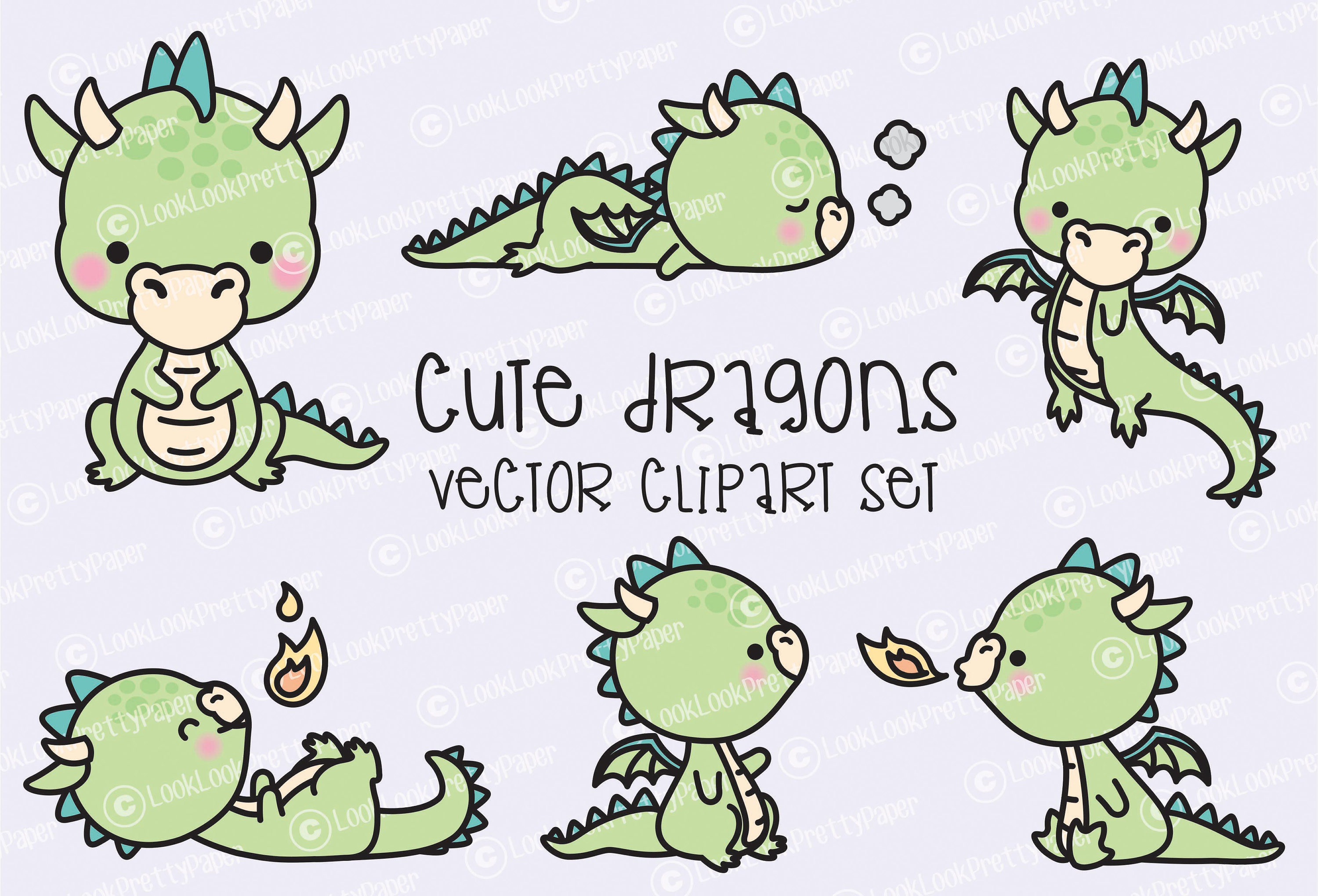premium vektor clipart kawaii dragon s e etsy. Black Bedroom Furniture Sets. Home Design Ideas