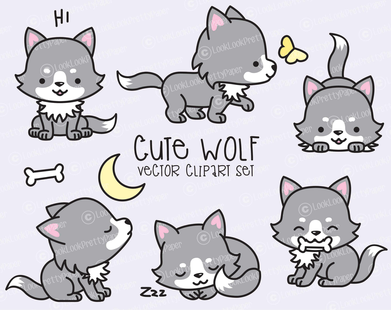 Premium Vector Clipart Kawaii Wolf Cute Wolves Clipart Set ...