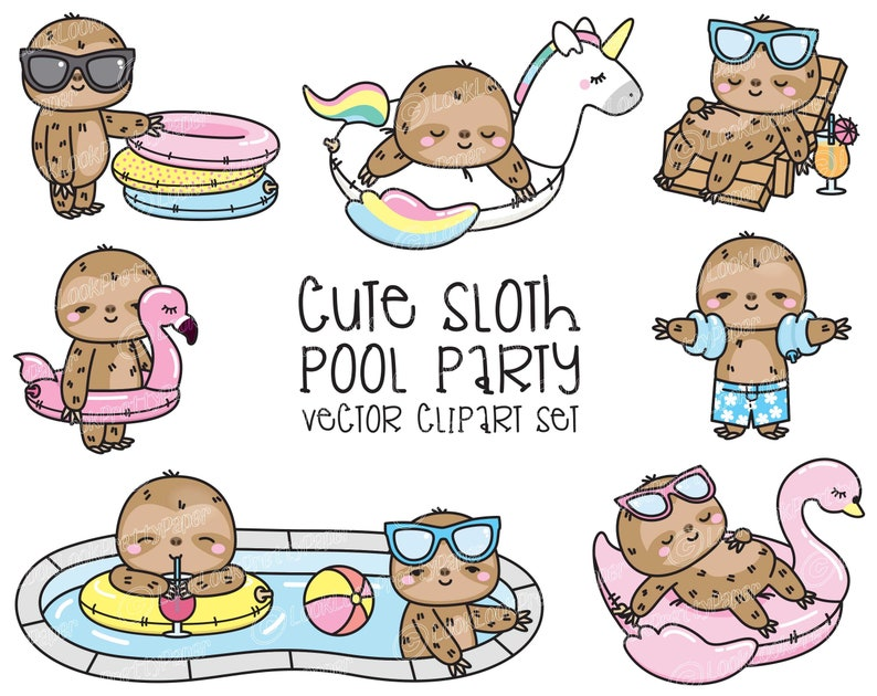 c010c4a06 Premium Vector Clipart Kawaii Sloth Cute Sloth Pool Party