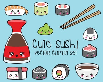 Premium Vector Clipart - Kawaii Sushi Clipart - Kawaii Sushi Clip Art Set - High Quality Vectors - Instant Download - Kawaii Clipart