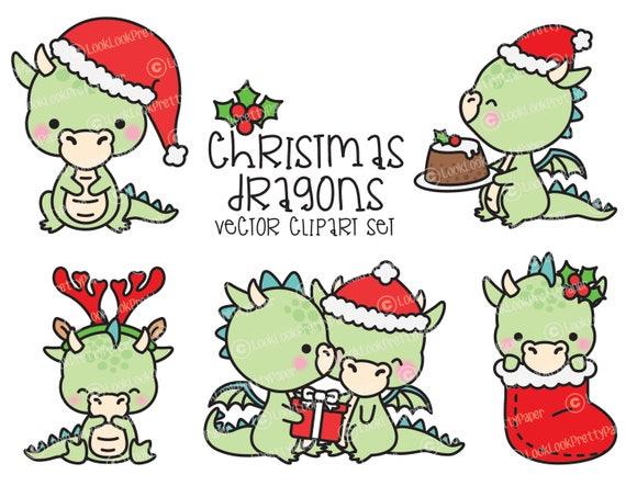 Kawaii Christmas.Premium Vector Clipart Kawaii Christmas Dragons Cute Christmas Dragons Clipart Set High Quality Vectors Kawaii Christmas Clipart