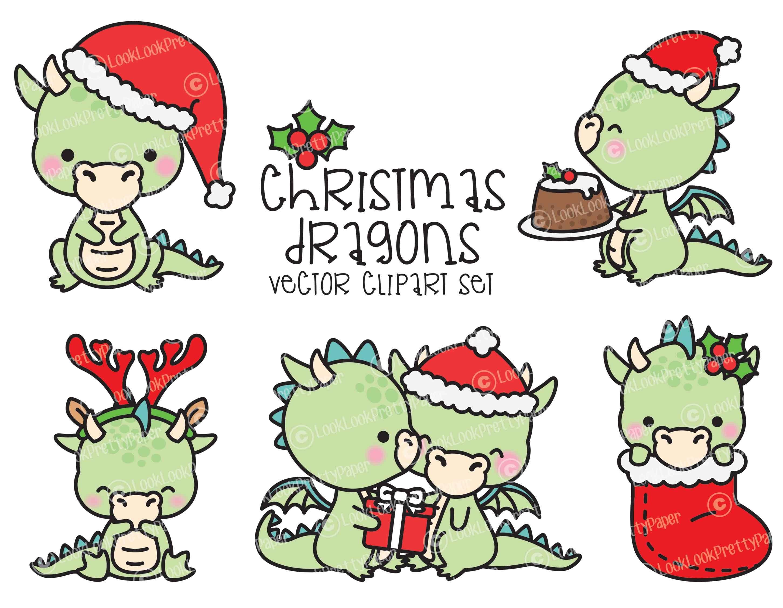 Premium Vector Clipart Kawaii Christmas Dragons Cute | Etsy