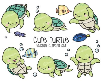 Premium Vector Clipart - Kawaii Turtle - Cute Turtle Clipart Set - Sea Turtle - High Quality Vectors - Instant Download - Kawaii Clipart