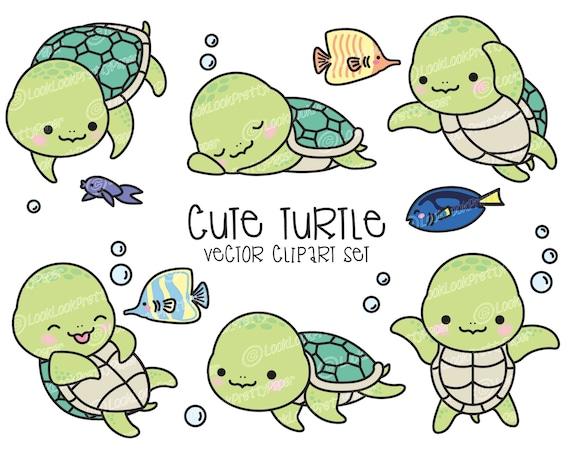 premium vector clipart kawaii turtle cute turtle clipart etsy