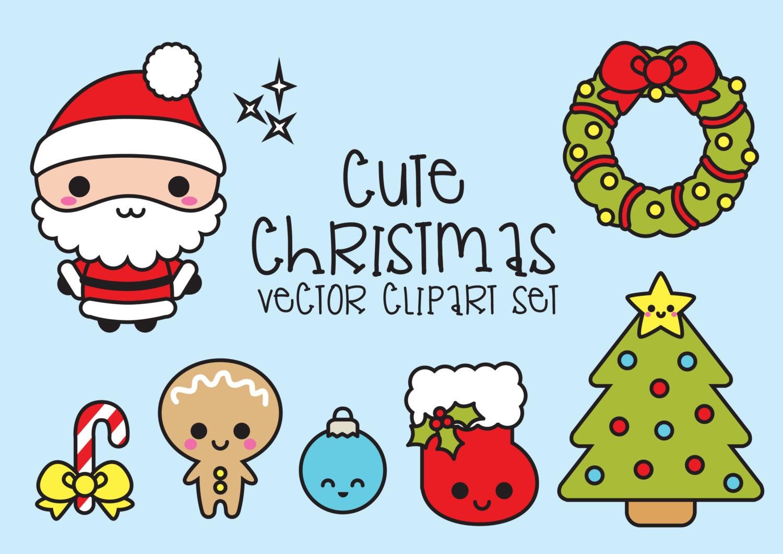 Premium Vector Clipart Kawaii Christmas Cute Chrismas | Etsy