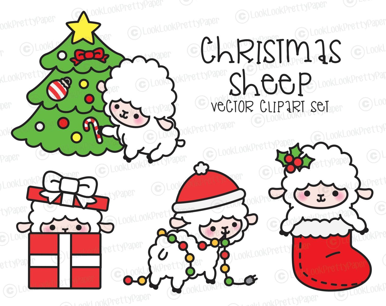Premium-Vektor Clipart Kawaii Weihnachten Schaf Cute | Etsy