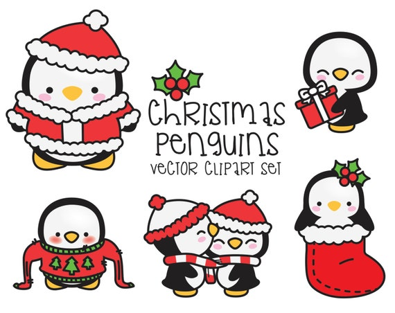 premium vector clipart kawaii christmas penguins cute etsy. Black Bedroom Furniture Sets. Home Design Ideas