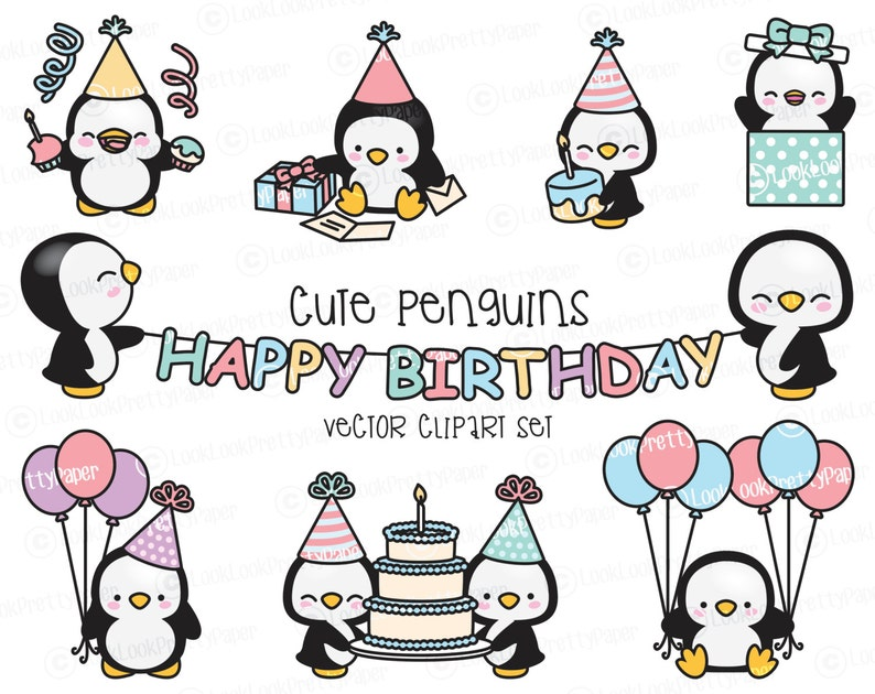 42b82cce39c38 Premium Vector Clipart Kawaii Birthday Penguins Cute