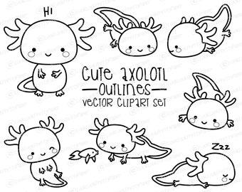 Premium Vector Clipart - Kawaii Axolotl Outlines - Cute Axolotl Outlines Clipart Set - High Quality Vectors - Instant Download