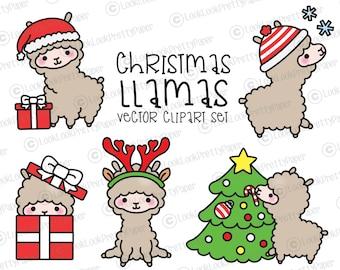 Premium Vector Clipart - Kawaii Christmas Llamas - Cute Christmas Llamas Clipart Set - High Quality Vectors - Kawaii Christmas Clipart