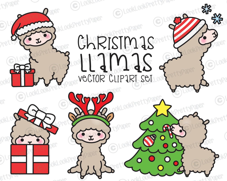Premium Vector Clipart Kawaii Christmas Llamas Cute | Etsy