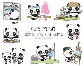 Premium Vector Clipart - Kawaii Panda - Cute Pandas Locked Down at Home Clipart - Panda Lockdown - Instant Download - Kawaii Clipart