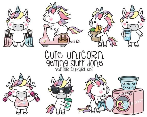 Premium Vector Clipart Kawaii Unicorn Unicorno Carino Etsy