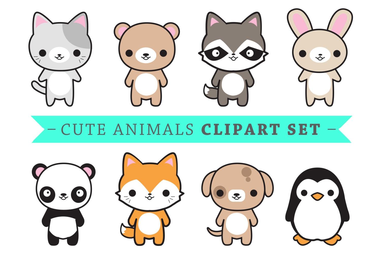 premium vector clipart cute animals kawaii animals cute etsy rh etsy com cute animals clipart free cute animal clipart images