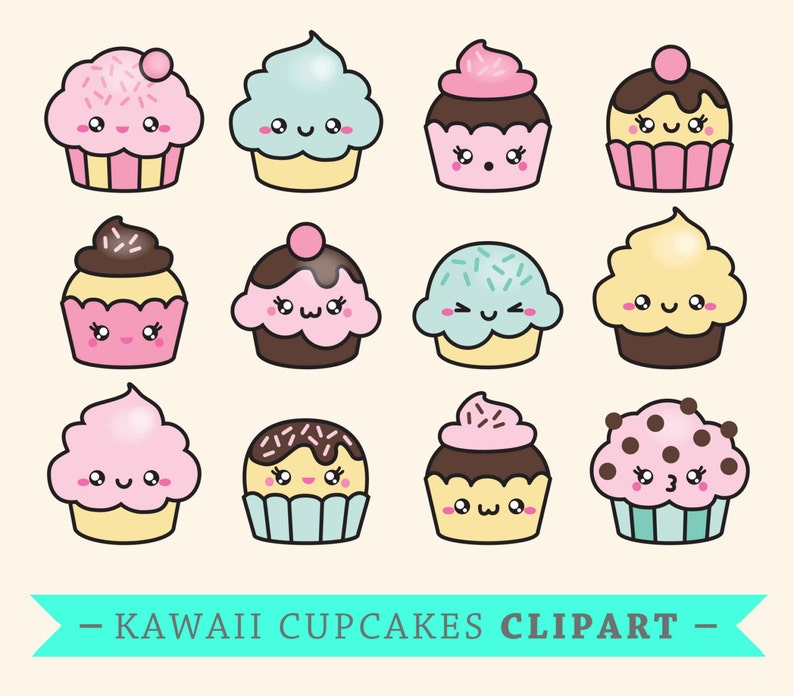 Premium Vector Clipart Kawaii Cup Cakes Cute Cupcakes Etsy
