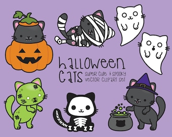 Premium Vector Clipart - Kawaii Halloween Cats - Cute Halloween Cats Clipart Set - High Quality Vectors - Kawaii Clipart