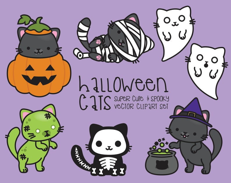 Premium Vector Clipart Kawaii Halloween Cats Lindo | Etsy (794 x 630 Pixel)