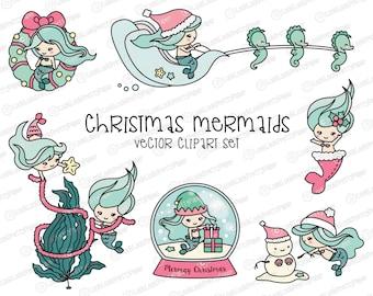 Premium Vector Clipart - Kawaii Christmas Mermaids - Cute Christmas Mermaid Clipart Set - High Quality Vectors - Kawaii Christmas Clipart