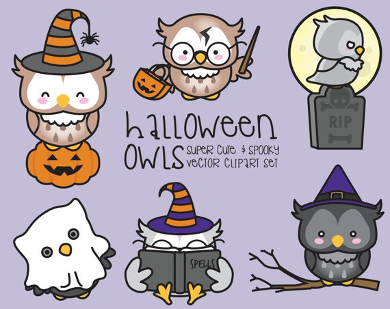 Premium Vector Clipart Kawaii Halloween Owls Cute